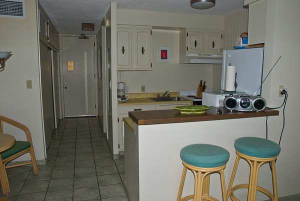 The kitchen of our studio condo at the Lahaina Shores Beach Resort