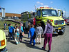 Our staging area for the week on the fire was the local elementary school, which positively thrilled the kids as they took tours of the fire engines standing by for assignments.