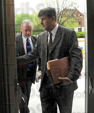Arrival: David Decker arrives at the Federal Courthouse with his attorney William Smock (R) Thursday morning to face federal drug charges.