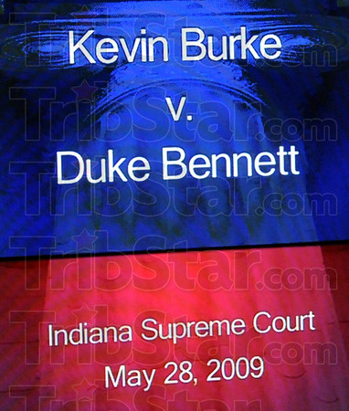 Monitor: A television monitor in the hall of the Indiana Supreme Court announces the agenda for May 28, 2009.