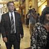 Bennett case: Terre Haute Mayor Duke Bennett follows his wife Pam into the courtroom Thursday morning.