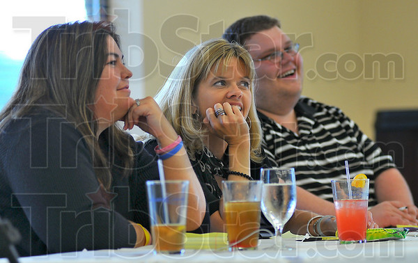 Smitten: Wabash Idol judges Julie Suggs, Julie Henricks and Adam Michaels listen to Dan Mrazik sing.