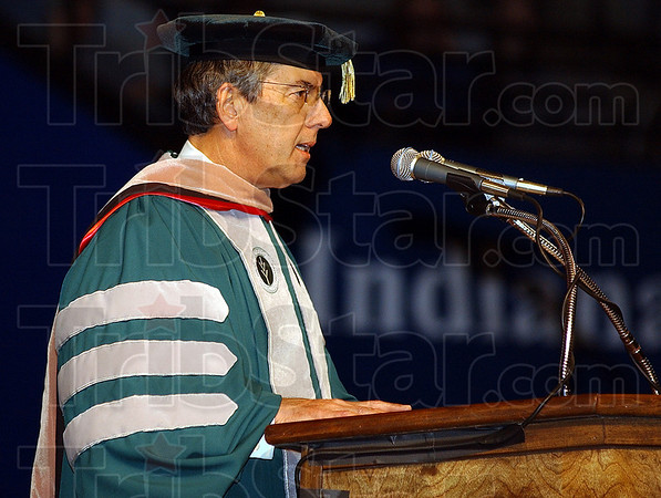 Good report: Thomas Snyder, President of Ivy Tech Community College, relates stories of personal courage and triumph among the 2009 graduating class Thursday evening in Hulman Center.