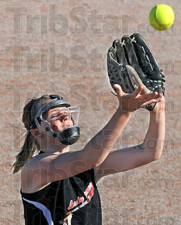 Tribune-Star file photo/Bob Poynter<br /> Got it: Terre Haute South pitcher Marissa Stout catches a pop-up during game action against Riverton Parke Wednesday, May 20.