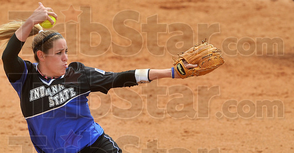 Tribune-Star/Joseph C. Garza<br /> Fast pitch action: Indiana State senior pitcher Darcy Wood pitches against a Southern Illinois batter during the Sycamores' game against the Salukis Sunday at Price Field.
