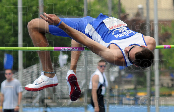 Over: Indiana State's Anthony Bertoli clears six-foot-three-inches in the high jump during preliminary competition at Marks Field Friday afternoon.