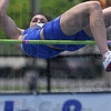 Tribune-Star/Joseph C. Garza<br /> Winner's height: Indiana State's Erica Moore clears the bar at 5 feet, 6 and 1/2 inches to win the high jump of the heptathlon Friday during the Missouri Valley Conference Outdoor Track & Field Championships.