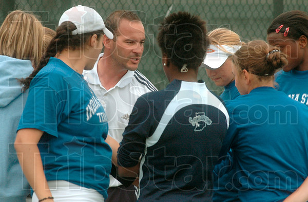 Tribune-Star file photo/Joseph C. Garza<br /> Let's do this: Indiana State women's tennis coach Malik Tabet encourages his team before the start of their match against Southern Illinois Friday, April 21, 2006 at the Duane Klueh Tennis Complex on the Indiana State campus. The University has indefinitely suspended the men's and women's tennis programs.