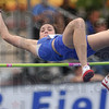 Tribune-Star/Joseph C. Garza<br /> She'll get over it: Indiana State's Erica Moore easily glides over the bar during the high jump competition of the Missouri Valley Conference Outdoor Track & Field Championships Friday at Marks Field.