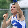 Tribune-Star/Joseph C. Garza<br /> Even further on this one: Indiana State's Anthony Bertoli bests his last attempt during the shot put competition of the heptathlon of the 2009 Missouri Valley Conference Outdoor Track & Field Championships Friday at Marks Field.
