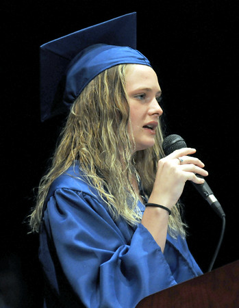 Graduate: Jessica Moore conveys her thanks to the 2009 graduating class, family and friends during Friday's McLean High School graduation ceremony.
