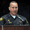 Chief: Terre Haute Chief of Police John Plasse talks to the graduating class of McLean High School Friday evening. Plasse urged the class to continue continue their education.