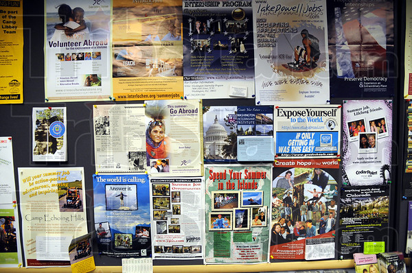 Expose Yourself to the World: Detail photograph of a bulletin board in the Indiana State University Career Center.
