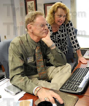 Career Center: Indiana State University Career Center director Kent Waggoner and his executive assistant Mary L. Kelly work in the center Thursday afternoon.