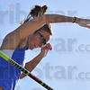 Smiling time: Kylie Hutson allows herselt a smile as she clears the winning height of 13'3' in the women's pole vault at the Missouri Valley Conference track championships Saturday evening at Marks Field .