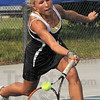 Tribune-Star/Joseph C. Garza<br /> Fleet footed: Terre Haute South's Taylor Bullock gets to a short ball during her No. 2 singles match against Sullivan's Addisson Ficklin Saturday during the tennis sectional championship at Terre Haute North.