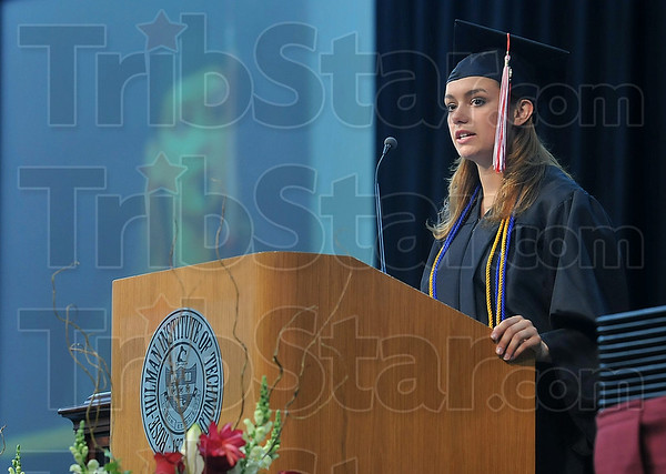 Tribune-Star/Joseph C. Garza<br /> Remembering the late night runs to Wal-Mart and Steak-n-Shake: Rose-Hulman Institute of Technology President of the Senior Class Mandy Kronmiller talks about the memories made during the class's time at the engineering school Saturday during commencement.