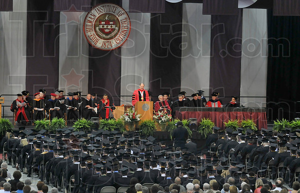 Tribune-Star/Joseph C. Garza<br /> Farewell, Rose: Rose-Hulman Institute of Technology President Gerald Jakubowski addresses the Class of 2009 during the school's commencement ceremony Saturday.