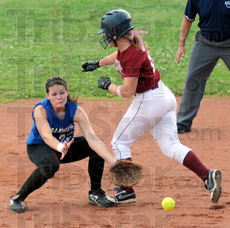 Interference: Riverton Parke's #12, Katelynn Rewers collides with North Vermmillion second baseman Hannah Chew during game action Saturday. Rewers was called out on the play for interfering with the play.