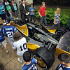 King Tut race car: Lost Creek Elementary School kids take a look at the #34 Indy race car sponsored by the King Tut exhibit and Indianapolis Children's Museum Wednesday morning.