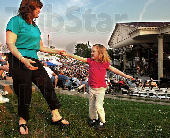 Tribune-Star file photo/Bob Poynter<br /> Let's dance: Five-year-old Anna Dubois dances with her aunt, Kim Harrison, as a warm-up band plays prior to the main event with the band, America, at Fairbanks Park Saturday, May 27, 2006.