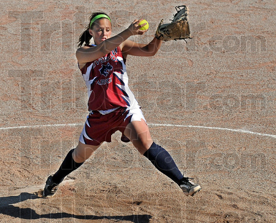 Rock and fire: Riverton Parke's #16, Ashley Kinne fires a pitch to the plate during game action against Terre Haute South Wednesday evening. South won the game 5-1.