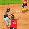 In a pickle: Braves baserunner Taylor Derickson is caught in a rundown by Plainfield's  Lindsay Kivett (6) and Allison Holsclaw covering second base.