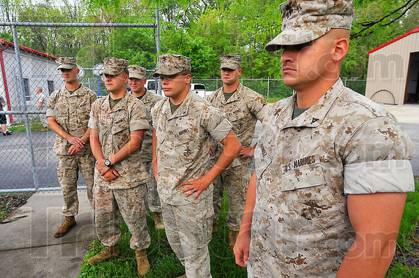 Local contingent: Kilo Company Marines deploying to Iraq from the Wabash Valley include: brothers Matthew and Andrew Fields, Brandon Woods, Michael Aird, Tony Poff and Adam Munoz.