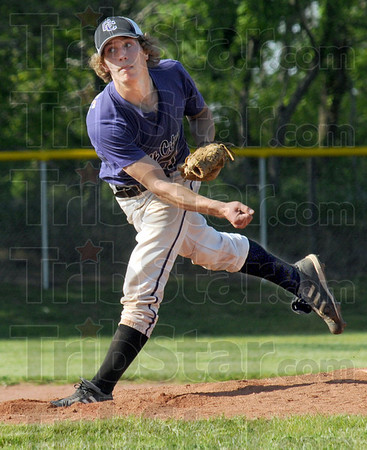 Heat: Clay City's #4, Ryne Hayes watches his pitch to the plate during game action against Riverton Parke Monday evening.