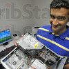 For the kids: Terre Haute South senior Raj Bhuptani used his computer construction know-how to build working computers from various parts from the computers at the Hyte Center along with computer donations from various businesses in the community.