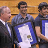 "Tribune-Star/Joseph C. Garza<br /> Indiana Has Talent: Gov. Mitch Daniels poses for a photo with Terre Haute South students Raj Bhuptani and Sachin Shinde Monday at the school. Bhuptani and Shinde were named ""Indiana Mr. Science"" and ""Indiana Mr. Math,"" respectively."