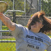 Fling it: Katy Spesard practices her form with the discus Monday evening at Allen Field.