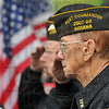 Tribune-Star/Joseph C. Garza<br /> A salute for the ones who didn't come back: Veterans of Foreign Wars Post 972 Commander Richard Ford, right, and member Andy Whitt salute during the playing of Taps Monday during a Memorial Day ceremony at Woodlawn Cemetery.
