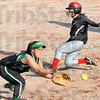 Tribune-Star file photo/Bob Poynter<br /> Race to the base: Terre Haute South's Ciara Hall beats the throw to West Vigo third baseman Brittney Hall during game action Wednesday, April 22.