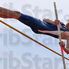Tribune-Star/Joseph C. Garza<br /> Not afraid of heights: Terre Haute North's Jake Van Bever clears the bar during the pole vault competition of the Patriot Challenge Saturday, April 18 at North.