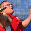 Let it fly: Josh Bridwell won the discus in the annual North-South track meet.