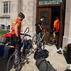 Tribune-Star/Joseph C. Garza<br /> A place to rest those weary legs: Participants in Habitat for Humanity's Cover Indiana Bicycle Tour wheel their bicycles into Centenary United Methodist Church after completing a leg of the tour Tuesday.