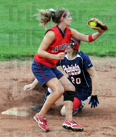 Safe: North's #20, Marlee Yeager makes it into second base ahead of the throw during sectional action Tuesday night.