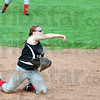 Gotcha: South's #29, second baseman Kayla Price throws out a runner from her knees after fielding a ground ball during game action against Martinsville Tuesday evening.