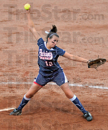 Heat: North's #12, Brittney Isom fires a pitch to the plate during game action Tuesday night against Plainfield.