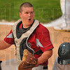 Safe?: Knight catcher Roy Brown can't believe the call after West Vigo's Jordan Pearson had been ruled save on the play at home plate.