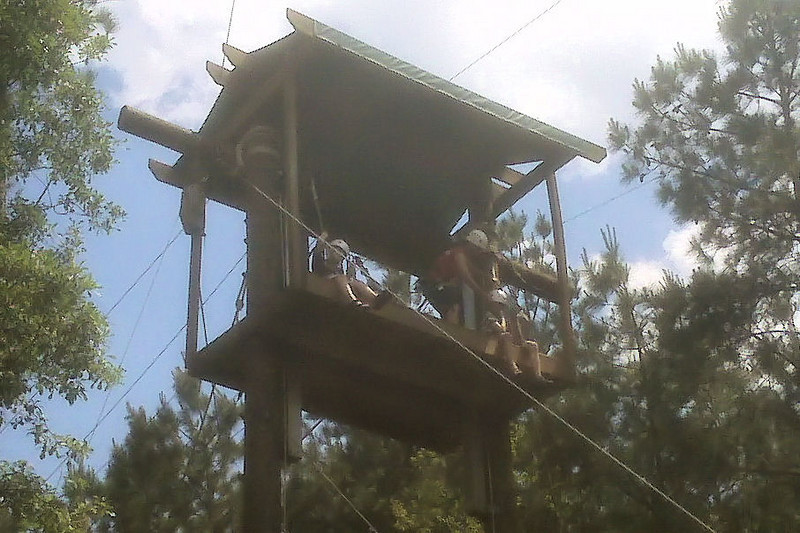 The boys ready to go down the zip line.