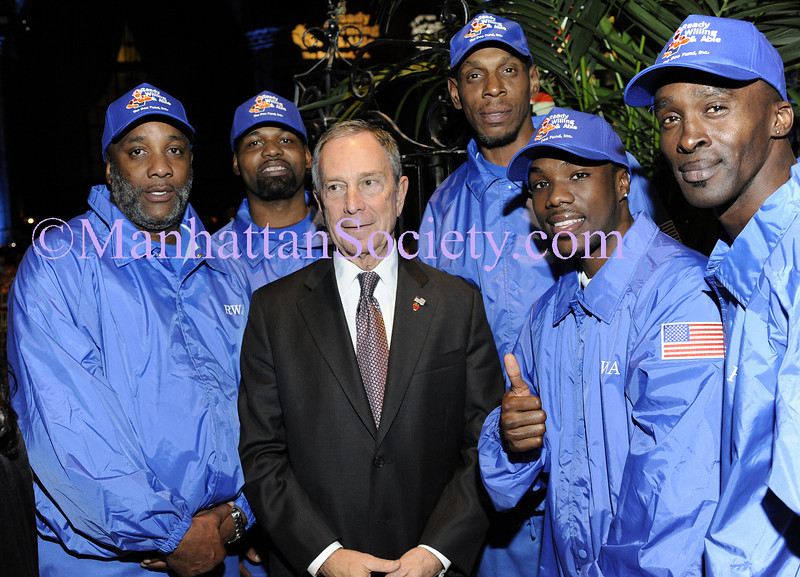 """NEW YORK-OCTOBER 29: New York City Mayor Michael R. Bloomberg with """"the men in blue"""" at THE DOE FUND's """"What New York Needs"""" Annual Fundraising Gala Celebrating Harriet & George McDonald's 25 Years of Service on Thursday, October 29, 2009 at Cipriani 42nd Street, 110 East 42nd Street, New York City, NY. (Photo Credit: ©Manhattan Society.com 2009 by Christopher London)"""