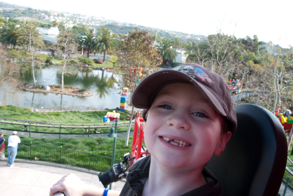 A different, and similarly tall, Legoland ride.