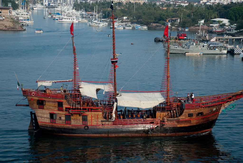 """The boys went on a cruise on this """"pirate ship"""", which was a replica of one of Columbus's ships."""