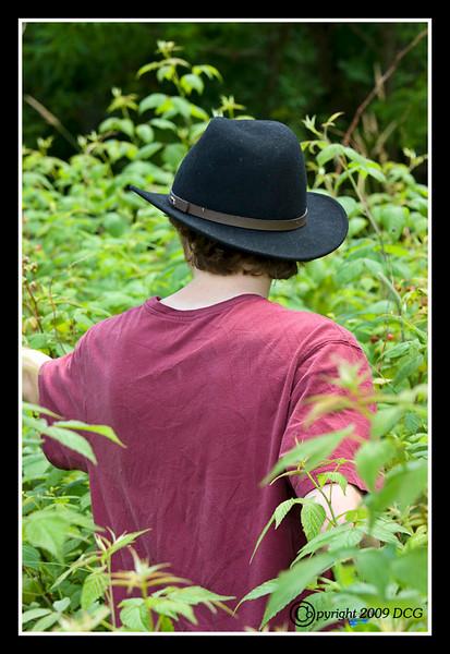 Michael picking Raspberries at Bellamy River Wildlife Management Area