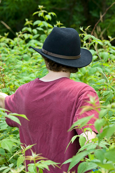 Michael picking Raspberries at Bellamy River Wildlife Management Area