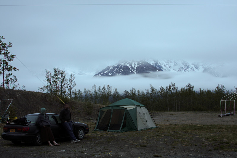 Alaskan midnights are somewhat lighter than the lower 48.  We set up camp in our friend Gordon's old driveway and hit the sack, planning on climbing in the morning.