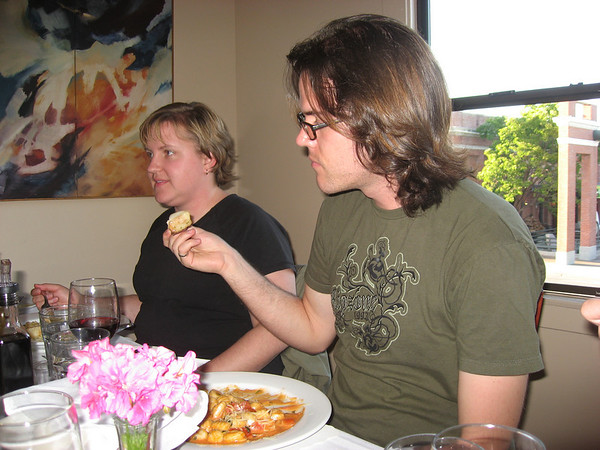 Aaron and Linda, caught right as they're eating!