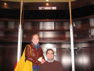 Katharine and Craig, in front of Nationals third baseman Ryan Zimmerman's locker